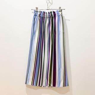 ボールジィ(Ballsey)のBALLSEY【アセテートストライプ Iラインギャザースカート】(ロングスカート)