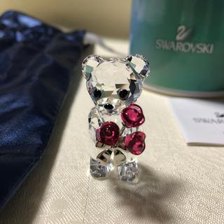 スワロフスキー(SWAROVSKI)のスワロフスキーSWAROVSKI ベア クマ フィギュリン バラ花束 置物(ガラス)