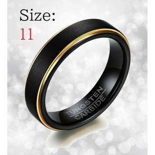 新品 リング メンズ 指輪 ブラック タングステン 送料無料 チェーン付き(リング(指輪))