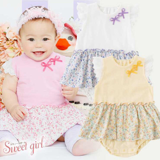 ニシキベビー(Nishiki Baby)の新品タグ付き❤︎スウィートガール* レース袖小花柄スカート付き ロンパース 70(ロンパース)