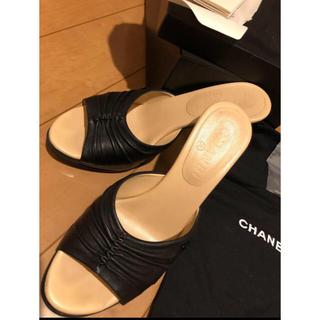 CHANEL - CHANEL ブラック ミュール サンダル 美品
