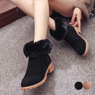 ファーショートブーツローヒールブーティームートンブーツシューズ靴ベ-ジュ黒(ブーツ)