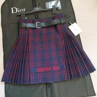 クリスチャンディオール(Christian Dior)の専用 新品2018 DIOR チェックプリーツスカート ネイビー36(ひざ丈スカート)