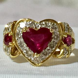 さいとう様 専用ページ ルビー×ダイヤモンド ハート&リボン リング 指輪(リング(指輪))