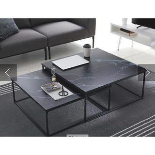 大理石柄ネストテーブル ローテーブル センターテーブル ブラック(ローテーブル)