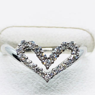 K18WG ハートモチーフ ダイヤモンド リング D:0.22ct(リング(指輪))