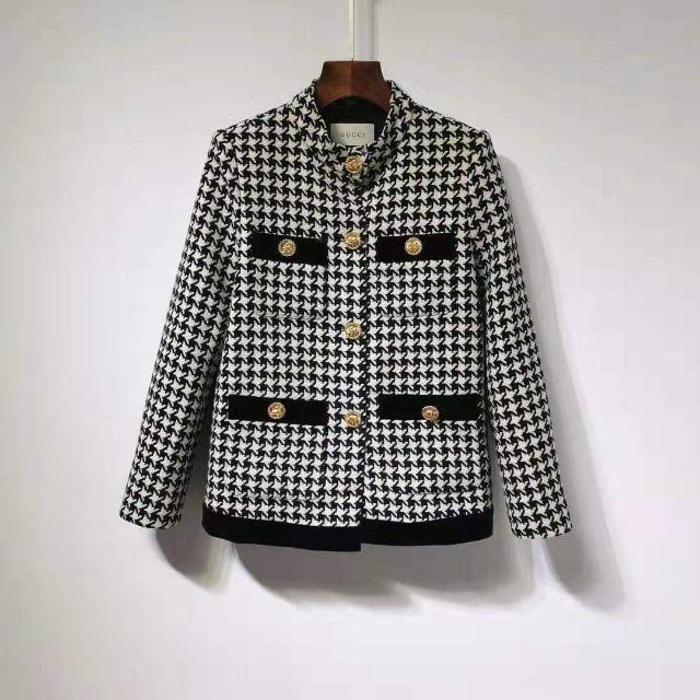 チュードル アンティーク - Gucci - 【GUCCI】 千鳥格子 スタンドカラー ショートジャケットの通販 by みながわりの's shop