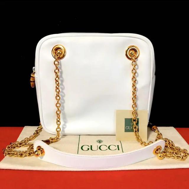 グッチ コピー ストール - Gucci - 極 美品 グッチ オールドグッチ バンブー チェーン ショルダーバッグ 白の通販 by マチルダ's shop