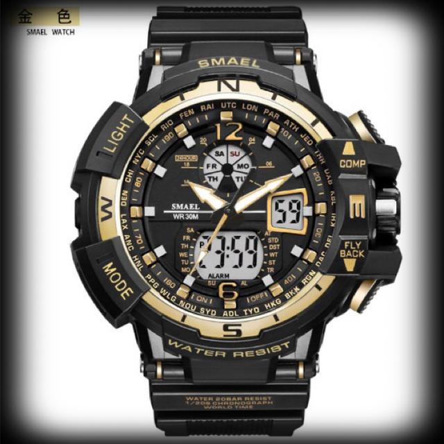 mbk スーパーコピー 時計 q&q / 新品送料無料メンズ腕時計デジタル多機能メンズLEDブラック×ゴールドの通販 by Daisy's shop
