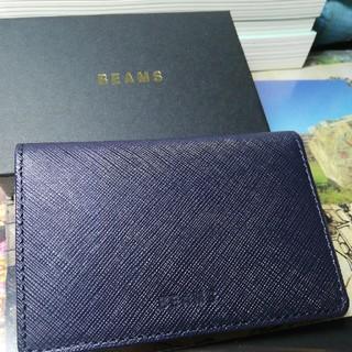 ビームス(BEAMS)のBEAMS カード入れ(紺×クリーム)(名刺入れ/定期入れ)
