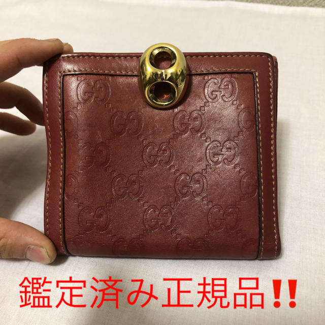 グッチ 財布 本物 偽物 - Gucci - グッチ シマ 2つ折り財布 レッドの通販 by Blue's shop