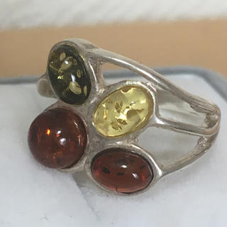 チックアンバー  ロシア 琥珀 マルチカラー リング 指輪 バルト H124(リング(指輪))