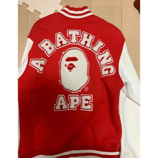 アベイシングエイプ(A BATHING APE)の激安Sサイズ! BAPEカレッジ猿ワッペンスウェットスタジャン(スタジャン)
