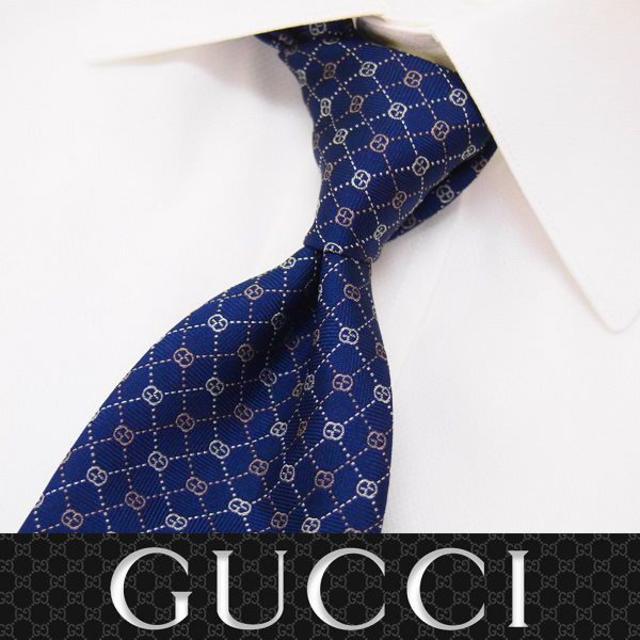 Gucci - 【46】GUCCI GGモノグラム柄 ネイビー SILK100% ネクタイの通販 by NEO 's shop