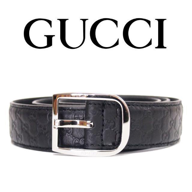 qpot アクセサリー - Gucci - 【24】GUCCI マイクログッチシマ ブラック レザーベルトsize80/32の通販 by NEO 's shop