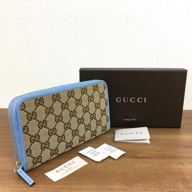 アクセサリー ete - Gucci - 未使用品 グッチ ラウンドファスナー長財布 キャンバス レザー 261の通販 by ちー's shop