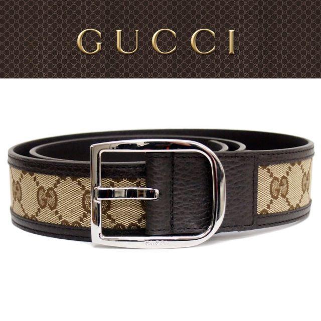 q&q ベルト 、 Gucci - 【29】GUCCIGGキャンバス×レザー ベージュ×ブラウンベルト85/34の通販 by NEO 's shop