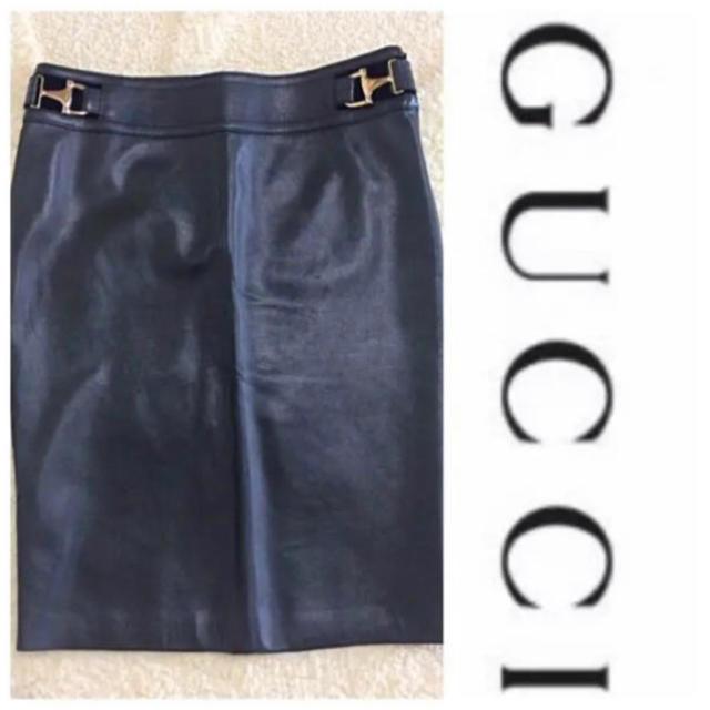 Gucci - 新品 正規鑑定 グッチ 革スカートの通販 by 価格交渉ご相談ください