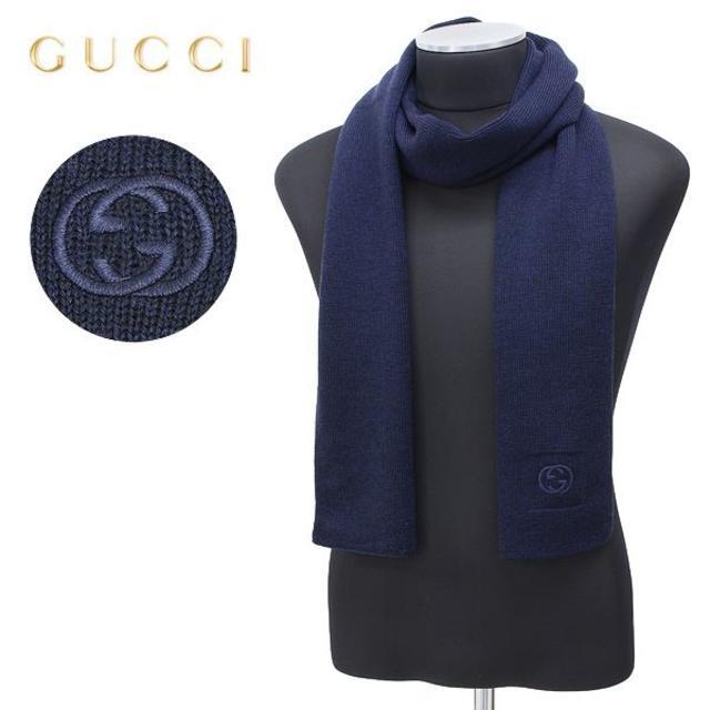 d e f アクセサリー | Gucci - 36 GUCCI マフラー ストール 男女兼用 WOOL 100% ネイビー の通販 by NEO 's shop