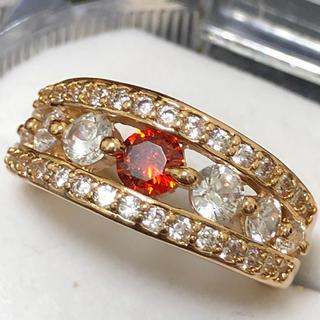 ルビー&ホワイトジルコニアダイヤモンドリング 指輪(リング(指輪))