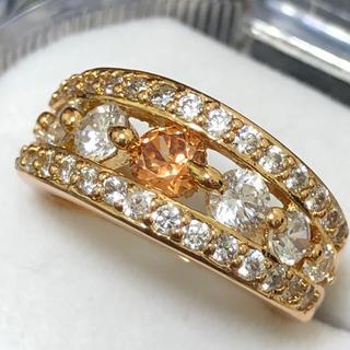 オレンジ&ホワイトジルコニアダイヤモンドリング 指輪(リング(指輪))