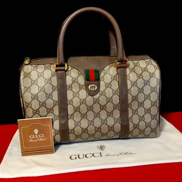 イブサンローラン ベルト 通贩 | Gucci - 美品 レア グッチ オールドグッチ シェリーライン ミニ ボストン ハンドバッグの通販 by マチルダ's shop