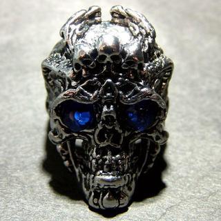 送料無料 ブルーアイ ゴシック スカル ドクロ リング 指輪 25号 メンズ(リング(指輪))