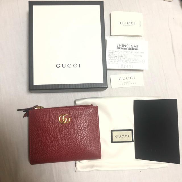 vベルト 長� - Gucci - GUCCI  GG マーモント 2�折り財布 折り財布  レザー財布 赤 �通販 by ♡'s shop