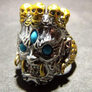 送料無料 仏様 神様 スカル ドクロ リング 指輪 22号 メンズ(リング(指輪))