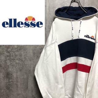ellesse - 【激レア】エレッセellesse☆刺繍ロゴトリコロールスウェットパーカー 90s