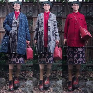 プープレ(peu pres)の日本製 プープレ パープル ゴブラン ヒールネックレス鞄総柄ロングタイトスカート(ロングスカート)