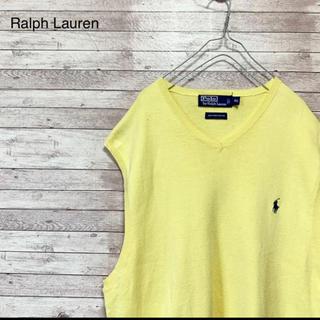 ラルフローレン(Ralph Lauren)の古着 ラルフローレン ピマコットン ニットベスト ワンポイント刺繍ロゴ(ニット/セーター)