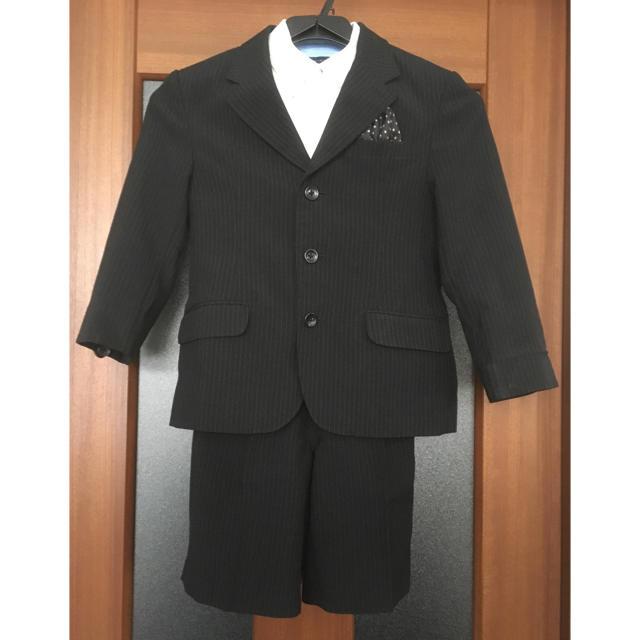 入学式 結婚式 男の子フォーマル 黒ストライプスーツ120の通販 By