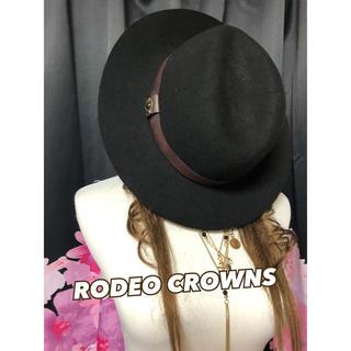 ロデオクラウンズ(RODEO CROWNS)の⑤⑨⑤ Rodeo Crowns 帽子 ハット つば広 FREE 黒 ブラック (ハット)
