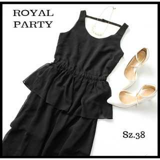 ロイヤルパーティー(ROYAL PARTY)のロイヤルパーティー★ペプラム オールインワン 38 黒 シースルー 結婚式にも(オールインワン)