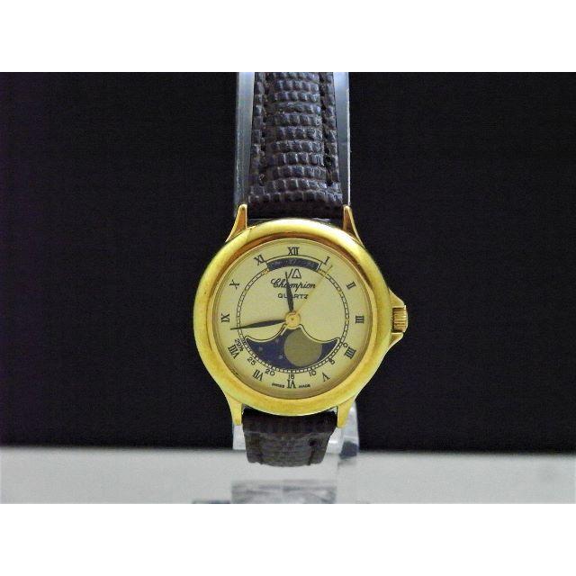 コメ兵 時計 偽物 574 / Champion ムーンフェイズ腕時計 スイス製 ゴールドの通販 by Arouse 's shop