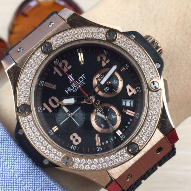 スーパーコピー エルメス 時計 hウォッチ / HUBLOT - HUBLOT ダイヤ 腕時計 クォーツ ブラック メンズ 箱付き 45mmの通販 by pixi's shop