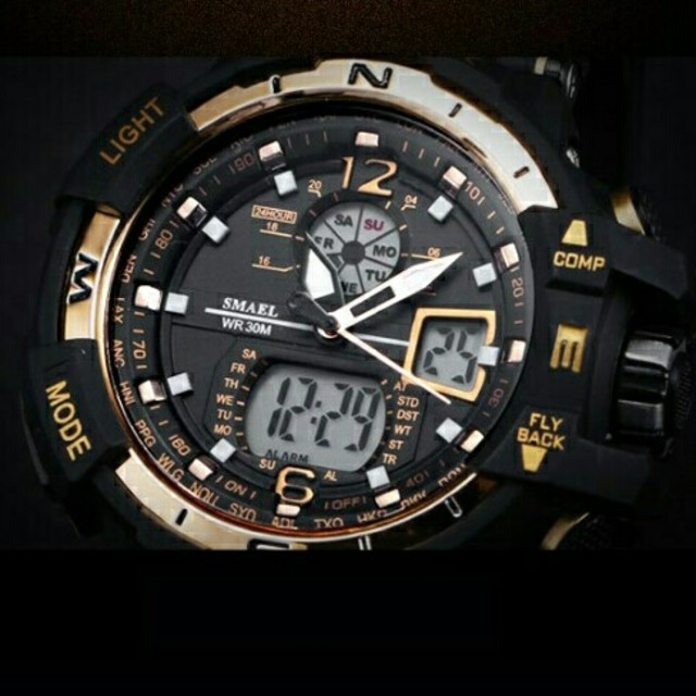 腕時計 スーパーコピー 激安 - 新品送料無料メンズ腕時計デジタル多機能メンズLEDブラック×ゴールド2の通販 by merci's shop