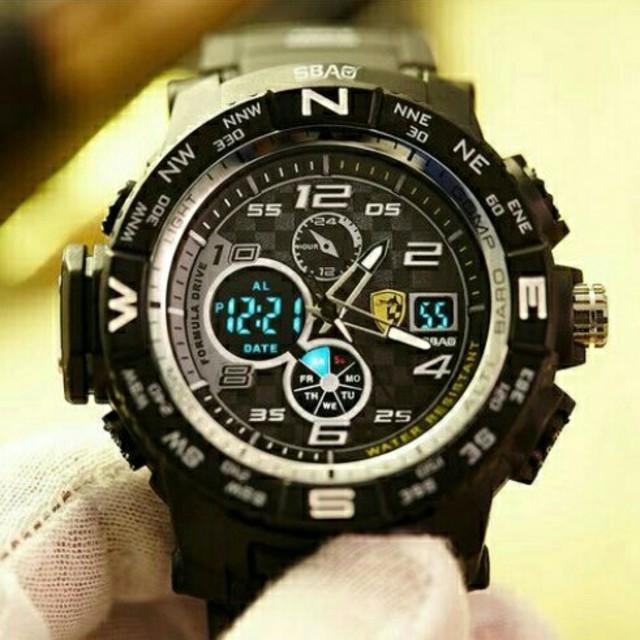 gucci 腕時計 スーパーコピー / 新品送料無料メンズ腕時計デジタル多機能メンズLEDブラック×ゴールド63の通販 by merci's shop