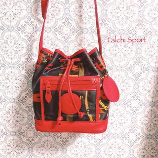 ファルチニューヨーク(falchi New York)の【Falchi Sport】赤×黒 レザーショルダーバッグ ヴィンテージ 古着 (ショルダーバッグ)
