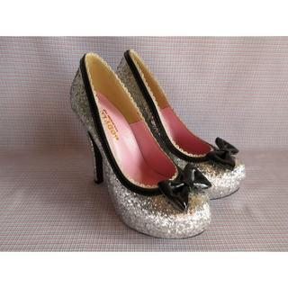 ボディライン(BODYLINE)のBODYLINE製 厚底靴 パンプス シルバー ラメ 23.5㎝(ハイヒール/パンプス)
