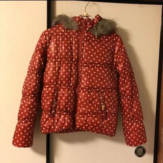 シマムラ(しまむら)の軽い 暖か オレンジ ドット柄 ダウンジャケット デニムパンツスタイルに♪(ダウンジャケット)