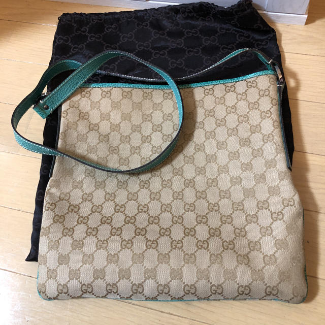 Gucci - GUCCI グッチ ショルダーバッグ キャンバス グリーンの通販 by honey's shop