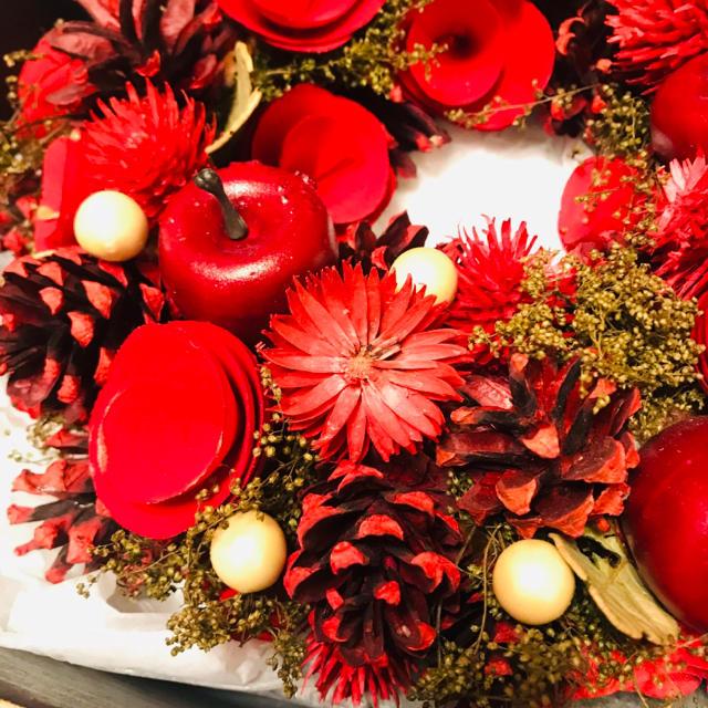 リース バレンタイン クリスマス ドライフラワー ハンドメイドのフラワー/ガーデン(リース)の商品写真