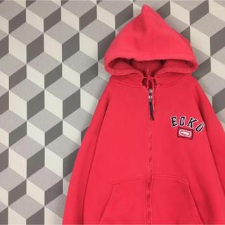エコーアンリミテッド(ECKO UNLTD)の【ecko】90s Hiphop エコー 刺繍ロゴ ジップアップ パーカー 赤(パーカー)