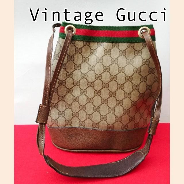 ヴィトン 財布 激安 偽物 amazon - Gucci - 良品 オールドグッチ シェリーライン ビンテージ巾着型ショルダーバッグ 正規品の通販 by vintage  shop