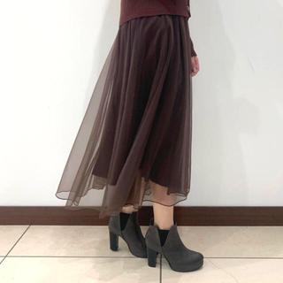 ココディール(COCO DEAL)の新品♡COCODEAL ココディール チュールボリュームスカート ブラウン(ロングスカート)