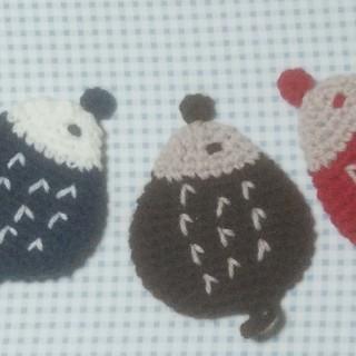 アクリルたわし(ハリネズミ型)赤、茶、紺色 3点セット(キッチン小物)