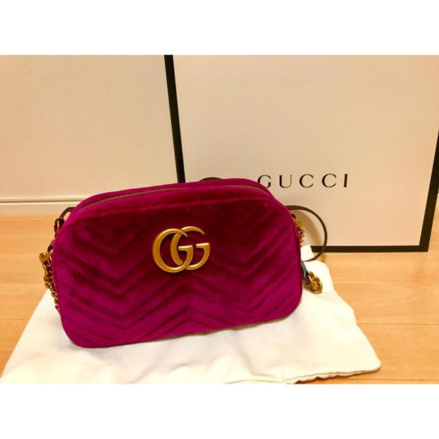 Gucci - GUCCI GGマーモント ベルベット ショルダーバッグの通販 by ぴよ's shop