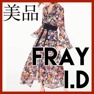 フレイアイディー(FRAY I.D)の美品 フレイアイディー FRAY I.D ロング ワンピース 花柄 ベルスリーブ(ロングワンピース/マキシワンピース)